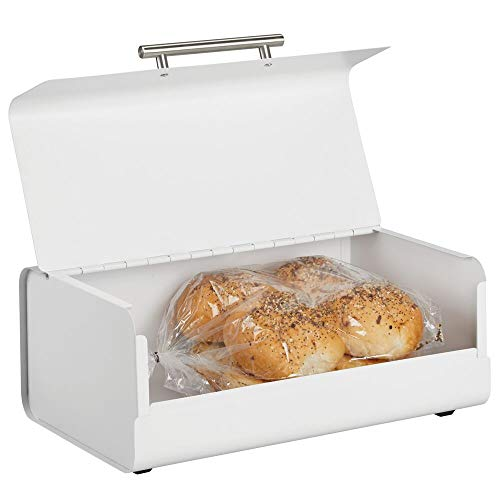 mDesign Metal Bread Box Bin with Hinged Lid - for Kitchen Countertop, Island and Pantry - Large Capacity Storage, Vintage-Inspired Design - Multi-Purpose Storage Container for Home - Matte White