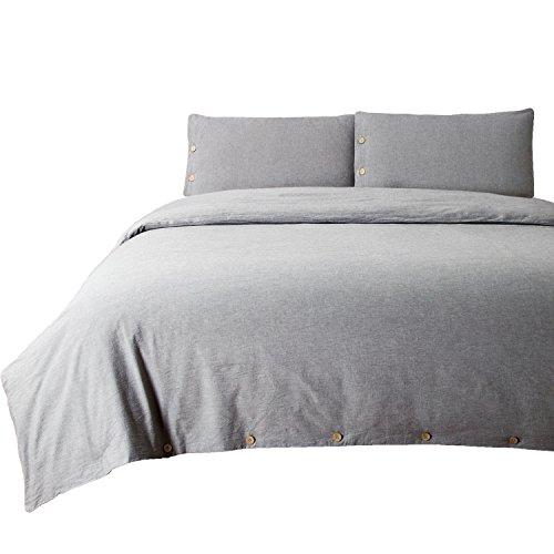 Bedsure 100% Washed Cotton Duvet Cover Sets Queen Full Size Grey Bedding Set 3 Pieces (1 Duvet Cover + 2 Pillow Shams)