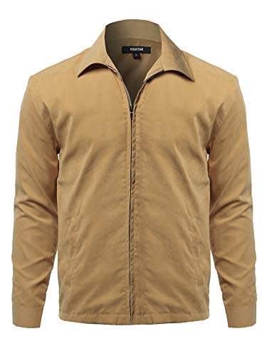 - Solid Classic Golf Long Sleeves Zipper Closure Thin Layer Jacket Beige L