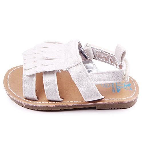 etrack-online bebé de flecos para cuna de goma suave soled Sandal plateado Talla:12-18months plateado