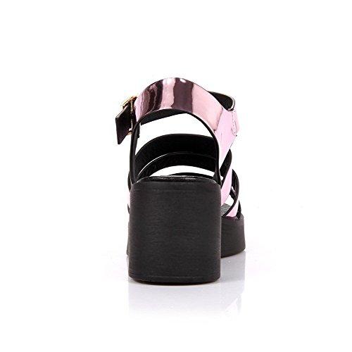 AllhqFashion Mujeres Hebilla Puntera Abierta Plataforma Sólido Sandalia con Plataforma Rosa