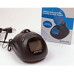 Craig Electronics CR45365 AM/FM Projection Alarm Clock Radio with LCD Blue Backlight Display