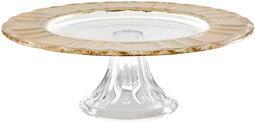 """Durable Glass Gold Rim Design Cake Stand, Beautiful Footed Party Centerpiece(10.94"""" * 4.69"""" * 10.91"""")"""