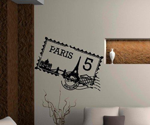 Tatuaje de Pared Skyline Paris Ciudad Sellos Sello de Correos ...