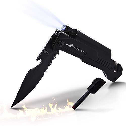 Freehawk Multifunctional High Quality Potable Outdoor Knife Survival Tactical Knife Outdoor Folding Knife with Led Light, Flintstone for Outdoor Adventure, Camping, Household