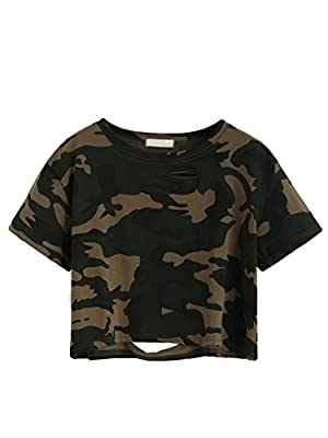 SweatyRocks Tshirt Camo Print Distressed Crop T-shirt