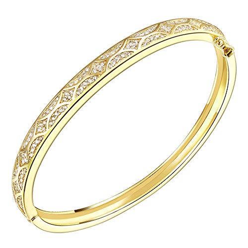 "Lavencious Arts Design Bangle Bracelet Evening Party Bling Gold Plated Elegant Jewelry 7"" (Gold)"