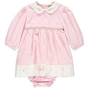 Kids 1950s Clothing & Costumes: Girls, Boys, Toddlers Carriage Boutique Baby Girls Embroidered Pink Corduroy Long Sleeved Dress $52.00 AT vintagedancer.com