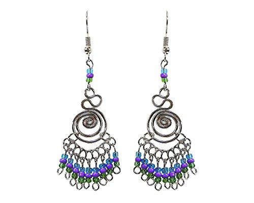 Silver Swirl Beaded Dangle Earrings (Turquoise/Purple/Green) (Earrings Purple Swirl)