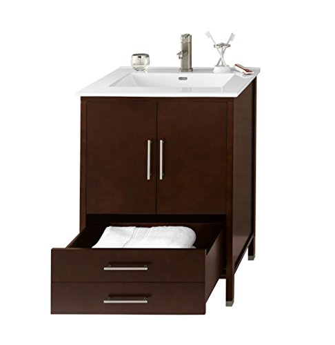 Distressed Nickel Fairmont Single Handle (RONBOW Juno 25 inch Contemporary Bathroom Vanity Set in Dark Cherry, White Kara Bathroom Sink Top with Single Faucet Hole, Bathroom Cabinet with Metal Feet in Brushed Nickel Finish)