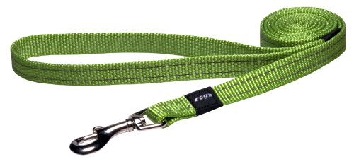 Rogz Utility Medium 5/8-Inch Reflective Snake 6-ft Long Fixed Dog Lead, Lime, My Pet Supplies