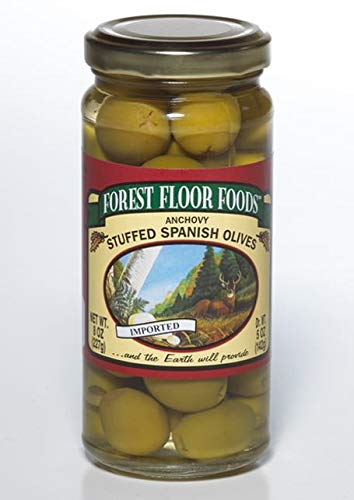Forest Floor Foods Anchovy Stuffed Manzanilla Olive, 8 Ounce ()