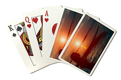 (Silhouette Surfer Woman at Sunset Photography A-93686 (Playing Card Deck - 52 Card Poker Size with Jokers))