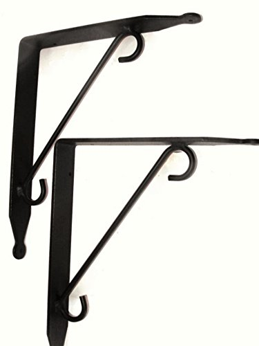 Large Iron Shelf Brackets - Made In the USA - Pair of 2