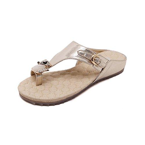 Crystal Opal Gemstone Fox Thong Toe Ring Slide Wedge Platform Sandals (9.5, Rose Gold Fox) ()