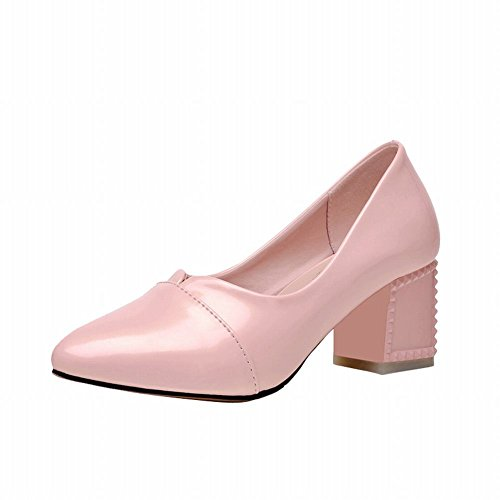 Latasa Womens Simple Solid Color Pointed-toe Mid Chunky Heel Pumps Shoes Pink fZclw