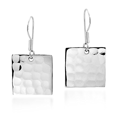 Hammered Texture Square .925 Sterling Silver Dangle Earrings ()