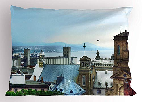 Tigeaslg Landscape Pillow Sham, Old Quebec City Skyline Tin Rooftops Churches St. Lawrence River Landmark, Decorative Standard Queen Size Printed Pillowcase, 30 X 20 inches, Blue Brown Grey ()