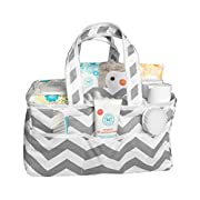 Diaper Caddy Organizer and Baby Nursery Storage Bin by EX Series - 100% Cotton Extra Strong Washable with Neutral Grey Chevron Pattern