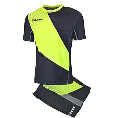 Zeus Kit Alex Herren Fußball Trikot Shirt Hosen Klein Armel Kit Fußball Volley Hallenfußball Training Grau-Gelb-Silver (XL)