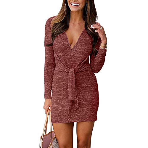 VANCOL Women's Deep V Neck Long Sleeve Tie Front Knit Mini Bodycon Sweater Dress Plain Party Club Dress(Wine Red, S)