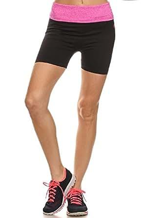 Shosho Womens Active Wear Shorts Fold Over Pink Waistband Black Small/Medium