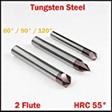 Best Quality - Milling Cutter - 3mm 4mm 5mm 6mm OD 60 90 120 Degree Solid Carbide CNC Cutting Tool Straight 2 Flute Chamfer End Mill Countersink Milling Cutter - by tto - 1 PCs