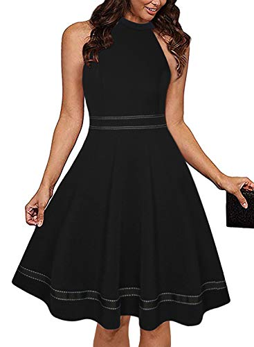 Ranphee Womens Black Halter Neck Sleeveless Semi Formal Cocktail Skater - Dress Semi Formal