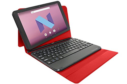 "Visual Land Prestige Elite 10.1"" IPS [2 in 1] Quad Core 64Bit 16GB Android 7.0 Nougat Tablet with Docking Keyboard Case Stand, Red (ME10QDDC16RED)"