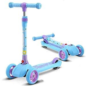KCJMM Monopatín Infantil Rueda Scooter Flash Rueda Levante un botón Plegable Pedal del Coche Puede Sentarse