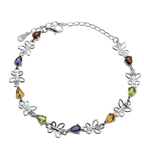 De Buman Genuine Multi-colored Gemstones with White Topaz 925 Silver (Multi Colored Topaz Bracelet)