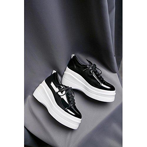 noir Cuir Baskets Semelles Femme Chaussures Plateforme Creepers Série Vintage Plateformes WSXY KJJDE Double A1711 à wxpzfn46