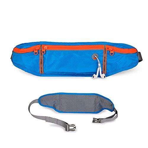 TENGGO Polyester Imperméable À l'eau De Course Ceinture De Sport Outdoor Sac De Taille De Téléphone Smartphone 6 inches-Noir Bleu