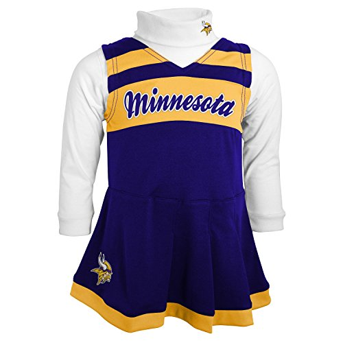 NFL Minnesota Vikings Girls Cheer Jumper Dress with Turtleneck Set