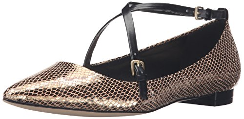 Nine West Women's Anastagia Metallic Pointed Toe Flat Gold/Black zdz6x00n2d