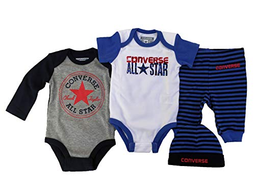 Converse Infant 2 Bodysuits, Beanie and Leggings 4 Piece Deluxe Gift Box (Oxygen Blue(566176-B5Z)/Blue Stripes, 0-6 Months) -