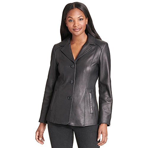 Wilsons Leather Womens Web Buster Notch Collar Genuine Leather Jacket L (Notch Collar Leather)