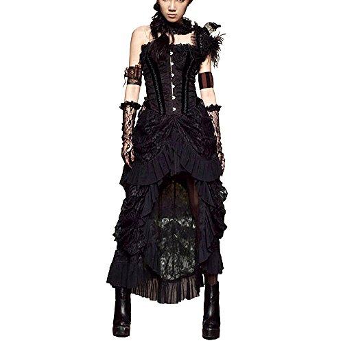 QuietClouds Steampunk Aristocrat Victorian Goth Banquet Asymmetrical Lace Skirt,752-M (Costume Victorian)