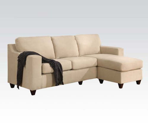 Vogue microfiber reversible chaise sectional sofa multiple for Beeson fabric queen sleeper chaise sofa