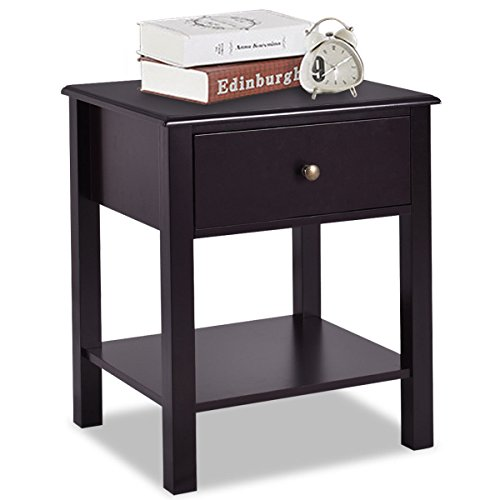 Giantex Nightstand W Drawer and Shelf, Stable Frame Storage Cabinet for Bedroom, Modern Beside Sofa Accent Table, Brown End Table 1