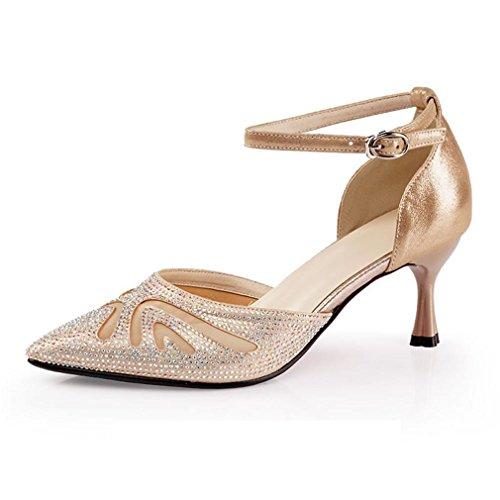 BYLE Sandalias de Cuero Tobillo Modern Jazz Samba Zapatos de Baile Zapatos de Baile Latino Hembra Adulta Fondo Blando, Sandalias de tacón Alto de 6,5cm de Oro Onecolor