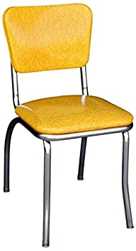 Richardson Seating 4110CIY Retro Chrome Kitchen Chair with 1 Pulled Seat, NULL, Cracked Ice Yellow