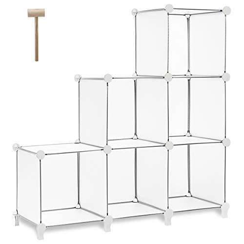TomCare Cube Storage 6-Cube Bookshelf Closet Organizer Storage Shelves Shelf Cubes Organizer Plastic Square Book Shelf Bookcase DIY Closet Cabinet Organizer Shelving for Home Office Bedroom, White (Bookcase White Modular)