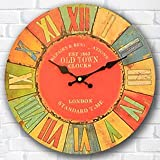 Buggy Round Decorative Wall Clock-Shabby Chic Floral Patchwork Clock - Vintage Wall Clocks for Living Room, Bedroom and Kitchen - Multi-Coloured Cute Retro Style Clock Wall ,16inches 40CM