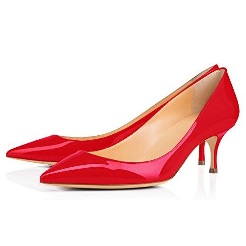 Onlymaker Damen Klassische Spitzschuh Mid Heel Large Size Kleid Party Pump Schuh Red