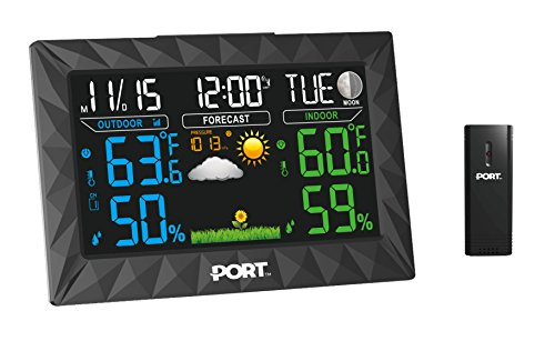 PORT Digital Weather Forecast Alarm Clock - Color LED Display & Indoor/Outdoor Wireless Sensor – Temperature, Humidity, Thermometer, Barometer, Time & Date Monitor – oC/of & 12/24-Hour Mode (Speakerphone Display)