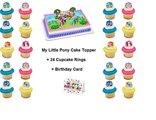 My Little Pony Cake Topper Set Cupcake 24 Pieces Birthday Supplies Favors Goodies Plus Birthday Card