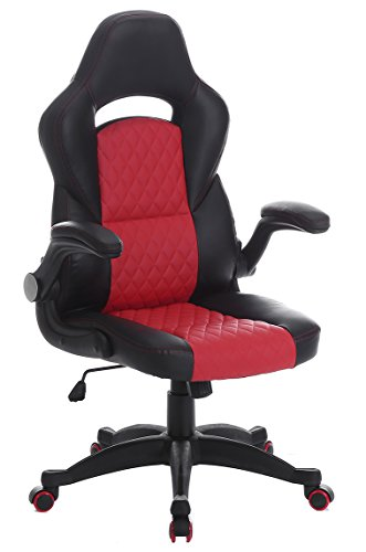 SEATZONE Racing Car Style Bucket Seat Gaming Chair, Executive Swivel Office Chair, Adjustable Computer Chair with Flip-Up Armrest, Leatherette, Red