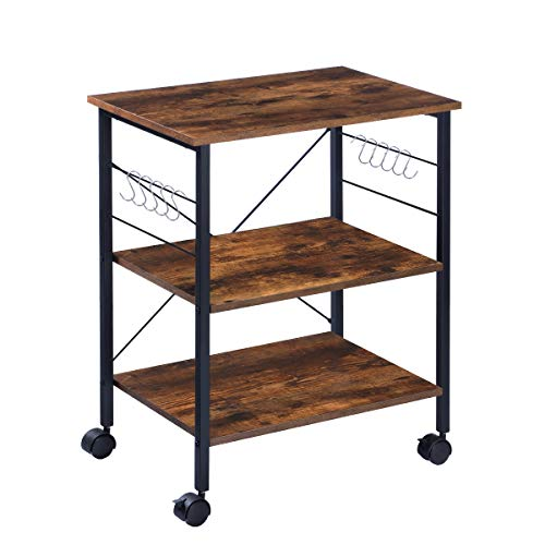 KINGSO Kitchen Microwave Cart 3-Tier Kitchen Utility Cart Coffee Cart Station Shelf Organizer Kitchen Cart on Wheels Vintage Rolling Bakers Rack with 10 Hooks for Living Room Decoration