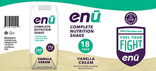 ENU Vanilla Cream Complete Nutrition Shakes for Weight Gain - 18-pack, 8.4 fl oz (250mL) each ()